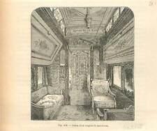 Chemin de fer salon wagon-lit au Etats-Unis d'Amérique USA GRAVURE PRINT 1884