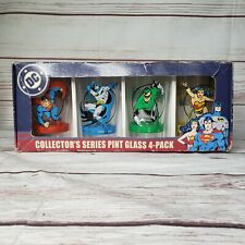 Rare Vintage DC Comics Collectors Series Pint Glass 4 pack Icup Made In USA