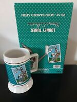 Looney Tunes Stamp Collection Stein Mug 28 Oz Gold Banded 1997 Warner Bros Bugs
