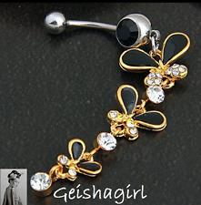 Acero Quirúrgico Cristal Negro Oro Mariposas cuelgan ombligo ombligo anillo Bar