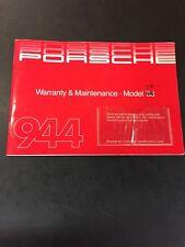 1983 Porsche 944 Original Warranty & Maintenance Manual