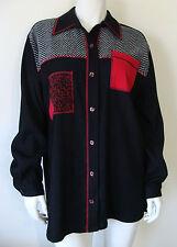 MONTEREY by KORET Black Shirt Jacket Red White Pattern Front 1 Pocket Sz 12 NEW