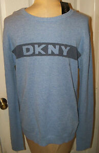 DONNA KARAN DKNY -sz XXL HANDSOME SWEATER LT BLUE WITH DKNY LOGO ON CHEST - NWT