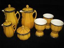 19th Century Antique Hornberg Black & Yellow German Ceramic Coffee Set 7 Pieces