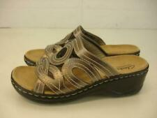 Clarks Womens 9 M Lexi Sycamore Slide Sandals Metallic Pewter Leather Wedge Shoe