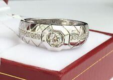 18k Solid White Gold Men Band Genius Diamond Ring 0.28CT, Sz 9