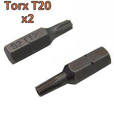 Torx Security Star+Pin T20 Screw driver Bit x2  TX20 Titanium coated long life