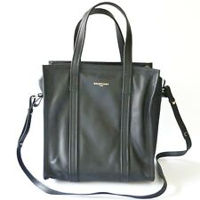New Balenciaga Bazar Small Leather Shopper Tote Bag Black 443096-DL