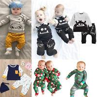 2PCS Todler Infant Baby Kids Boys Cartoon T-shirt Tops Pants Clothes Outfits Set
