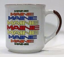 "Nanco Coffee Cup Mug ""Maine"" print in sun shape - Vintage 6 color ceramic 10oz"