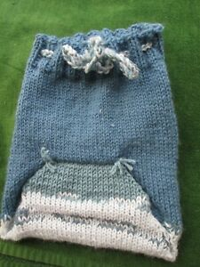 """Baby Diaper Cover All Wool Soaker Hand Knit Prewashed Lanolized Blue Shades 16"""""""
