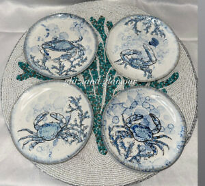 inHomestylez Chesapeake Bay Blue Crab Coastal Nautical Theme Appetizer Plates 6""