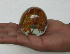 Vintage Beautiful Orange Floral Design Glass Paper-weight Collectible