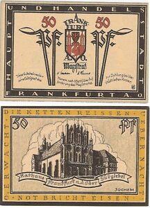 Germany 50 Pfennig 1921 Notgeld Frankfurt UNC Uncirculated Church Banknote