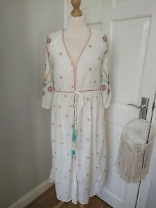 New Zara S Small Long White Embroidered Kimono Cover Up Floral dress Bnwt