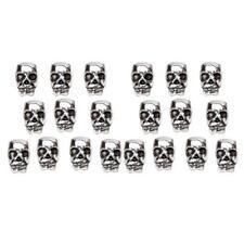 20pcs Tibetan Silver Skull Charm Spacer Beads For Bracelet Jewelry Making