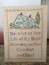 """Vtg Antique Handmade Embroidery Sampler Cottage House """"Comfort & Rest"""""""