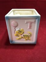 Vintage Large Relpo Baby Planter Vase Square Block Shape Letters and Animals