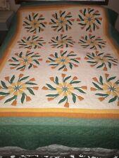 "Vintage 85"" x 68"" tulip circles quilt orange yellow green hand stiched white"