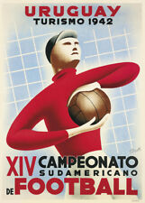 FOOTBALL South America Cup, Uruguay, 1942, 250gsm A3 Sports Poster