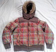 Girls Winter Coat Jacket Hydraulic Sz L Brown Multicolored Plaid Faux Fur Hood