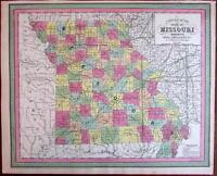 Missouri state map showing canals & railroads 1850 Cowperthwait scarce issue