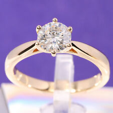 Color Moissanite Engagement Solitaire Ring 14k Yellow Gold 1ct 6.5mm Df