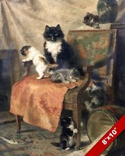KITTENS AT PLAY ON CHAIR & MOTHER CAT PET ANIMAL ART PAINTING REAL CANVAS PRINT
