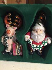 set of 5 santa and reindeer glass christmas ornaments