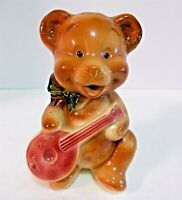 "Vintage Rare Royal Copley Teddy Bear with Mandolin Planter Vase About 6"" Tall"