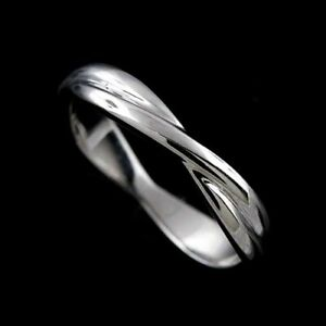 14K Solid White Gold Modern Twisted Intertwining Wedding Band 3.5mm Wide