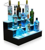 "24"" 3 Step Tier LED Lighted Shelves Illuminated Liquor Bottle Bar Display Stand"