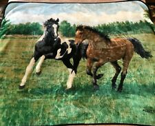 "Horse Throw Blanket Plush Fleece Persis Clayton Weirs Northwest Company 52""x64"""