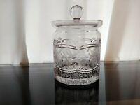 Vintage Crystal Clear Industries ASHLEY Cut Etched Crystal Biscuit Barrel w/ Lid