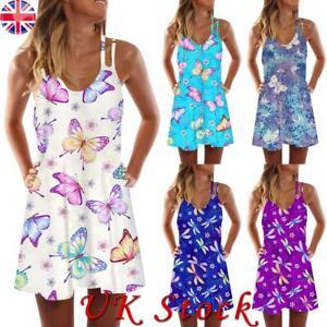 Women's Sleeveless Butterfly Print Strap Short Dress Summer Beach Party Sundress
