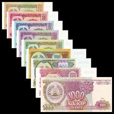 Tajikistan set 9 PCS,1 5 10 20 50 100 500 1000 Rubles, 1994, P-1 2 3 4 5-9, UNC