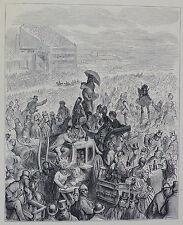 """Doré-Londres; 'El Derby-en el almuerzo"""", antiguo grabado en madera, C.1870"""