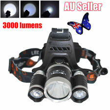 Camphelper Waterproof Hunting LED Headlight Headlamp Head Torch with 3 T6 LED BK