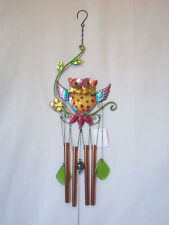 Wind Chime - Hand painted Owl metal and glass construction