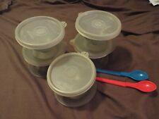 Vintage Tupperware Pudding Cups-5-Lids-Scoop-Spoons-LOOK
