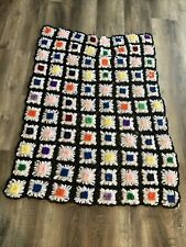 Daisy Afghan 49x37 Handmade Throw Blanket Crochet Knitted Folk Pop Art Loom vint