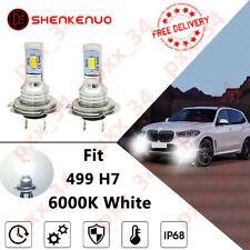 Pair 499 H7 6000K Xenon White Low Dipped Beam Headlight Bulbs For BMW X5 E53