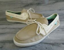 VANS SURF SIDERS Tan Beige Canvas Casual Lace Up Slip On Boat Skater Shoes Sz 10