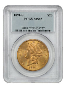 1891-S $20 PCGS MS62 - Liberty Double Eagle - Gold Coin