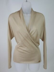 Women's Gucci Beige Light Weight Cashmere V-Neck Sweater Top Size XS