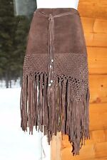 Rare SExY Western Boho Bebe brown suede leather skirt beaded fringes sz 2