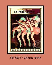 """Un 10"""" x 8"""" art déco imprimé intitulé """"Chorus girls"""" - La Paris Revue 1924"""