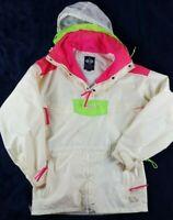 VTG 90S COLUMBIA NEON ANORAK SKI COAT JACKET MENS Sz. S White Green Pink RETRO