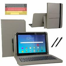 Qwertz Tablet - Android  Universal 10 Zoll Hülle - 10,1 Tastatur 3in1 Set Grau