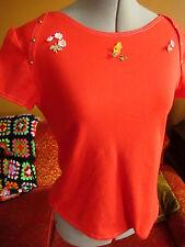 MEDIUM True Vtg 70s RELIC RED BABY DUCK WIDE NECK Knit Disco T-Shirt Womens
